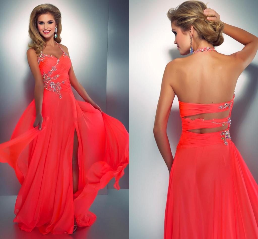 2015 Coral Colored Prom Dresses Crystal Embellished Halter