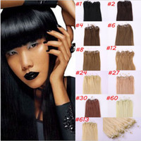 "Wholesale Micro Bond Hair Extensions - Micro loop ring human hair extensions 16""-26"" brazilian remy pre-bonded hair 1g pcs any color available"