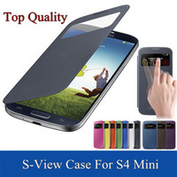 Wholesale S View Cases For S4 - Wholesale-View window case for samsung galaxy S4mini S4 SIV Mini i9190 original leather cases 9190 S 4 IV back cover skin covers