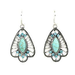Wholesale Blue Color Rhinestone Earrings - Hollow Out Blue Color Wholesale Vintage Style Elegant Rhinestone Drop Earrings