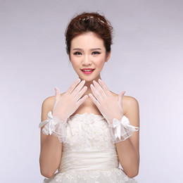 Wholesale Glove Bow - Vintage In Stock Sheer Lace Bridal Gloves Full Finger Wrist Length Short Pageant Evening Women Gloves Lace Bow Wedding Dress Accessory