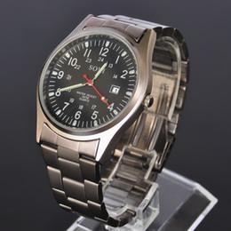 Wholesale Metal Wristwatch - New SOKI Military Army Sport Watches Date Display Analog Time Quartz Mens Grey Metal Band Wristwatch