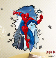 Wholesale Spiderman Stickers For Wall - AAA quality Superman Spiderman 3D Wall Sticker for Kids Rooms Wall Adhesive home spider-man decor wall decals #70103