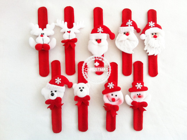Рождественский подарок Рождество Санта-Клаус Снеговик игрушка пощечину ПЭТ круг браслет наручные рождественская елка украшения украшение бесплатная доставка DHL