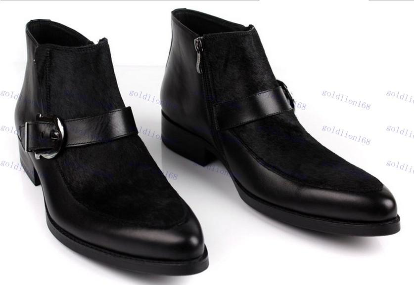 Hot Sale Pointed Toe Buckle Mens Ankle Boots Brand Outside Cool