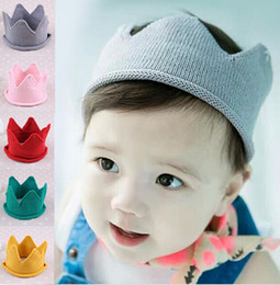 Wholesale Spring Autumn Crochet - Baby Knit Crown Tiara Kids Infant Crochet Headband cap hat birthday party Photography props Beanie Bonnet