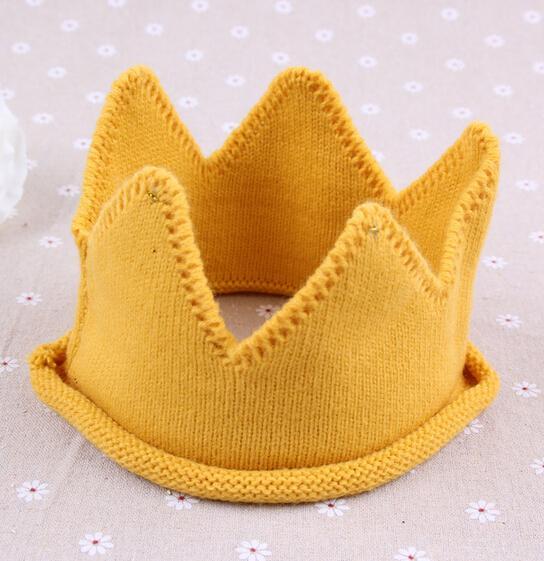 Baby Knit Crown Tiara Kids Infant Crochet Headband cap hat birthday party Photography props winter Beanie Bonnet gift