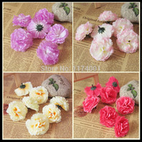 Wholesale Wholesale Silk Carnations Heads - Wholesale-100piece lot 6cm Carnation flower head small artificial flowers silk flower home decoration for DIY bouquet