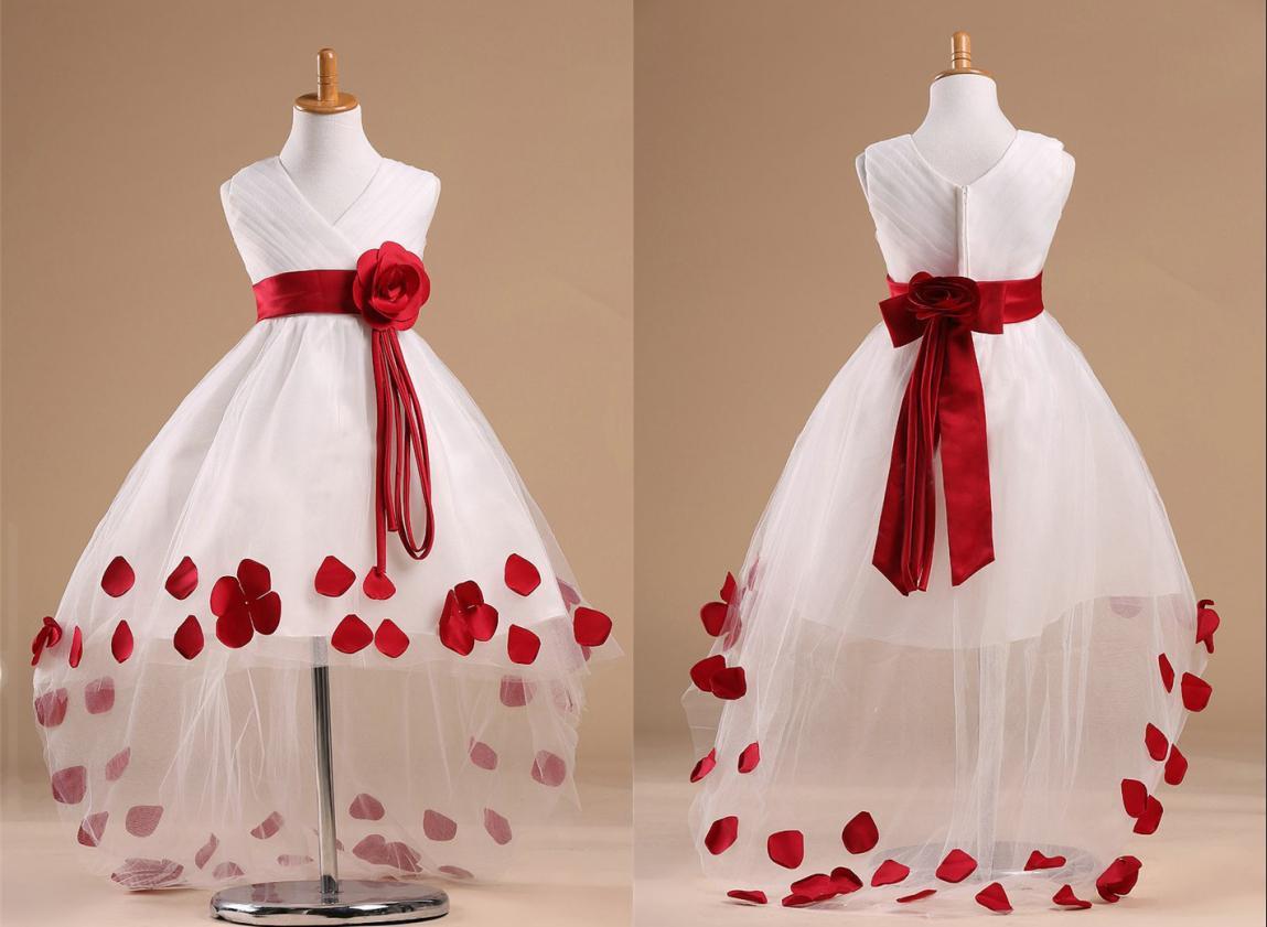 2015v Collar Folds Flower Girl Dresses Short In Front Long Little ...