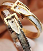Wholesale Belted Bangle Bracelet - gold plated glitter powder adjustable belt buckle bracelet bangle women dress cuff bangle Free shipping