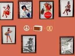 Dipinti da sogno online-2014 moda 8 * 11 cm amante dei sogni bere ragazza di latta Segno Coffee Shop Bar Ristorante decorazione di arte della parete Bar dipinti in metallo