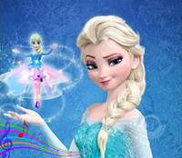 Wholesale Music Theme Gifts - 2014 New Flying Frozen toys Infrared Induction Princess Elsa Anna dolls Frozen Theme Music Party Toys for Girls kids gift