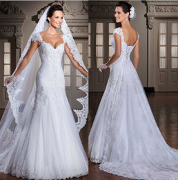 Wholesale Arrival Train - New Arrival 2014 Vestidos de Noiva Tulle Applique Beaded Wedding Dresses Bridal Gowns Detachable Train