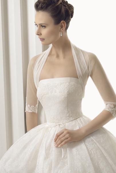 best selling Elegant High Neck Wedding Accessories Bridal Jacket Bolero Tulle Merterial Shawl Wraps Custom Made Lace Long Sleeve Cape White Ivory Shrug