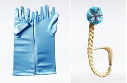 Wholesale Headbands Plait - retail Elsa Costume Frozen Girl Plait Gloves Dress Up Set Princess Cosplay Child Wand Tiara for Party