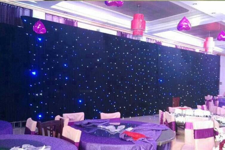 Shiny LED Star Curtain Fashion Wedding Stage Background Cloth Blue-White Color With LIghting Controller For Wedding Stage Decoration