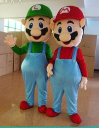 Wholesale Mascot Costume Mario - Adult Size Super Mario Mascot Costume Fancy Dress Lovely Brothers Suit HOT!