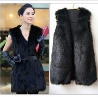 Wholesale Girls Size Trench Coats - 2017 Winter Faux Fur Vest Women Plus Size Coat Fashion Long Trench Coat Runway Vest Jackets Ladies Girls waistcoat Vest Outerwear W46