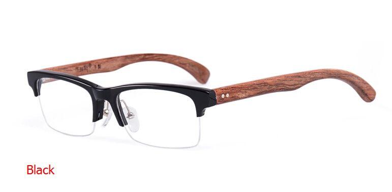 Mens Eye Glass Frames Business Fashion Wood Black Brown