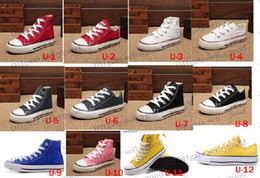 Wholesale Boys High Tops Shoes - 2014 dorp shipping Boy&girl Children's Canvas Shoes kids Cute Leisure Sports Shoes low & high top Rubber Bottom 7 colors size 23-34