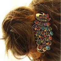 Wholesale Rhinestone Barrettes Free Shipping - Free Shipping 1 Pcs New Fashion Ladies Vintage Colorful Rhinestone Peacock Barrette Hairpin Hair Clip