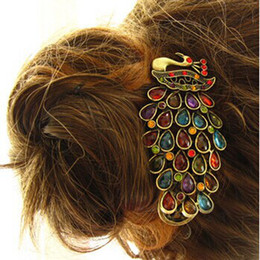 Wholesale Vintage Rhinestone Hair Clips - Free Shipping 1 Pcs New Fashion Ladies Vintage Colorful Rhinestone Peacock Barrette Hairpin Hair Clip
