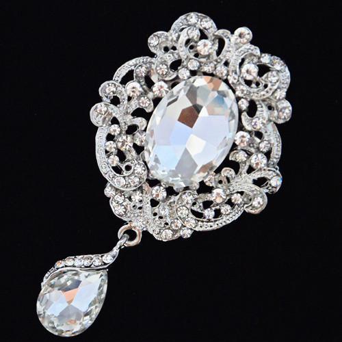 Rodio chapado con gota de agua de lujo, cristales colgantes de flor, broche de moda, ramo, bling, bling, cristales checos, brocha
