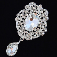 Wholesale wholesale bling brooches - Rhodium Plated Luxury Waterdrop Pendent Crystals Flower Brooch Fashionable Women Bouquet Pin Bling Bling Czech Crystals Broach Pin