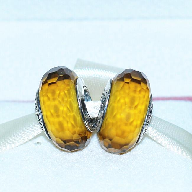 S925 Sterling Silver Screw Golden Faceted Murano Glass Charm Beads Fits European Pandora Jewelry Charm Bracelets