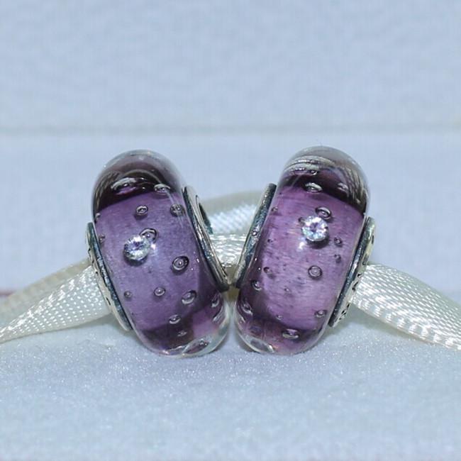 100% 925 sterling silver filo lavanda effervescenza perline di vetro di murano misura i braccialetti europei di fascino di pandora