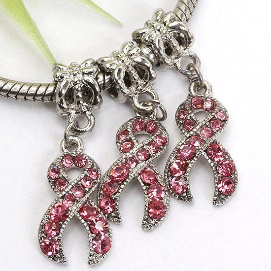 18KGP Rose Crystal Rhinestone Ribbon Charm Conciencia del cáncer de mama Cuelga cuentas colgante europeo Fit pulsera de moda