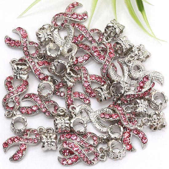 18KGP Rose Crystal Rhinestone Ribbon Charm Breast Cancer Awareness Dangle Beads European Pendant Fit Fashion Bracelet