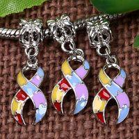 Wholesale Enamel Ribbon - Bulk Price 18KGP Colorful Enamel Dangle Ribbon Charms Cancer Awareness European Beads Pendant Fit Charm Bracelet Dropshipping