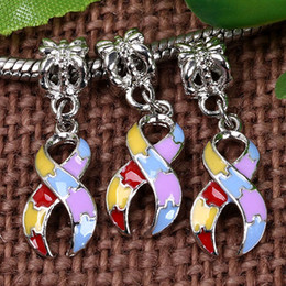 Wholesale Awareness Ribbons Beads - Bulk Price 18KGP Colorful Enamel Dangle Ribbon Charms Cancer Awareness European Beads Pendant Fit Charm Bracelet Dropshipping