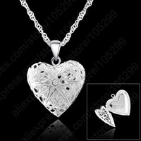 "Wholesale Sterling Pendant Frame - New 10Pcs Frame Case Picture Necklace 925 Sterling Silver Fine Jewellery Heart Pendant Necklaces With Singapore Chain 18"" Trendy"