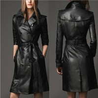 Wholesale Black Fur Leather Coat - 2015 the fall and winter clothes new style women's leather garments leather trench coat jacket long section