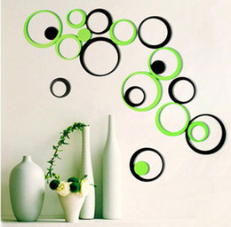Декор из дерева онлайн-Wholesale-Circle Round Bubble 3D wood Wall Sticker Wooden Wall Decal Creative stereo wall Art DIY Home Office Decor Decoration 10 colors