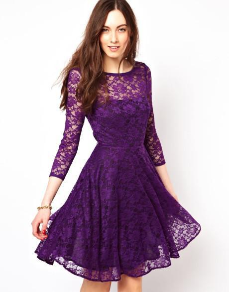 2015 A Line Crew Purple Lace Homecoming Dresses 3/4 Long Sleeve ...