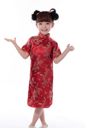 bébés dragon Promotion Shanghai Histoire cheongsam pour 70 --- 140 cm de hauteur Enfants Chinois Traditionnel bébé Vêtements Dragon Tang costume Cheongsam style Rayonne robe