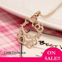 Wholesale Gift Lovely Hello - Lovely!!! Rose Gold Color Cute Hello Kitty Style Lady Pendant Necklace On Sale