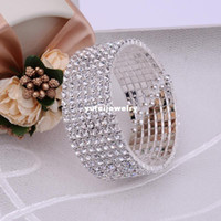 cz gümüş bilezikler toptan satış-Muhteşem 7 Satırlar CZ Rhinestone Kristal Gümüş Bilek Bilezik Vintage Düğün Gelin Bileklik Bileklik Manşet Takı