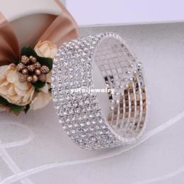 Wholesale Vintage Cuff Links - Gorgeous 7Rows CZ Rhinestone Crystal Silver Wrist Bracelet Vintage Wedding Bridal Bangle Bracelet Cuff Jewelry