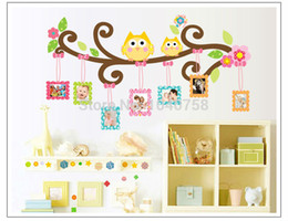 Wholesale Wall Art Photoframe Stickers - PVC Owl Wall Sticker Photo Frame Home Decoration Family Tree Wall Decal Photoframe Decorative Wall Art Poster Wall Paper Kids