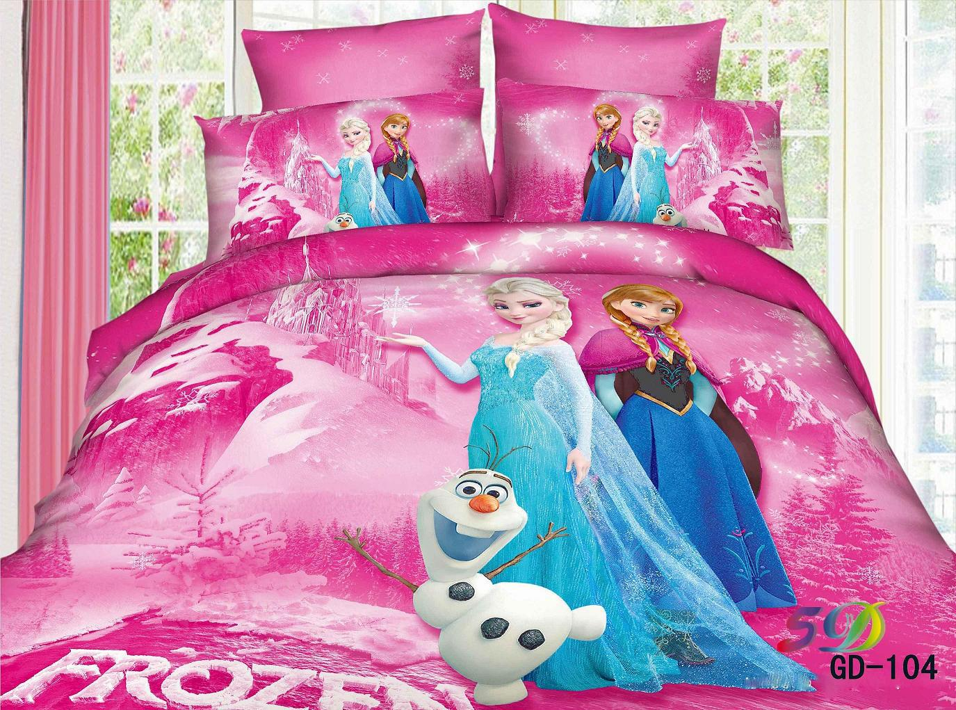 3d frozen anna elsa snowman bedding sets queen king size 100 cotton fabric quilt duvet cover. Black Bedroom Furniture Sets. Home Design Ideas