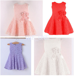 Wholesale Baby Girl Stockings Pink - in stock girls lace flower tutu dress girl sleeveless tutu dress baby girl wedding dress dresses girl white pink dress children flower dress