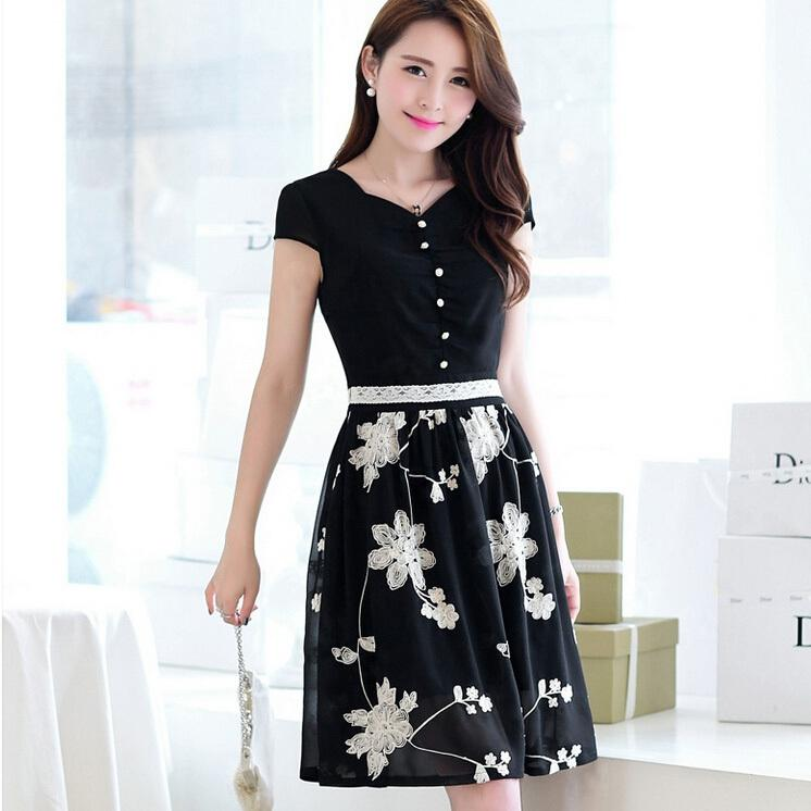 Korean Dresses New 2014 Summer Fashion Cute Women Embroidery Flower And Button Chiffon Short