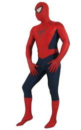 Wholesale Spiderman Zentai Red Blue - Wholesale Unisex Adult Kid Full Body Navy Blue Lycra Spandex Superhero Spiderman Zentai Suits Halloween Costumes