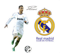 Wholesale Play Poster - 1set High Qaulity Football Poster Real Madrid Ronaldo Play Football Wall Sticker For Bedroom Wall Decorative Football Decals