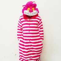 Wholesale Cheshire Cat Cosplay - Lovely Rosy Cheshire Cat Jumpsuits Bridal Undergarments Pajamas Animal Cosplay Costume In Stock Warm Men and Women Home & Sleeping Wear