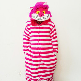 cheshire cosplay costume NZ - Lovely Rosy Cheshire Cat Jumpsuits Bridal Undergarments Pajamas Animal Cosplay Costume In Stock Warm Men and Women Home & Sleeping Wear
